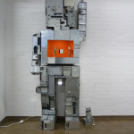 'Roboy' steel, playwood, mirrors, lights (350 cm high) 2011